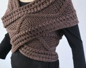 Hand knit sweater, Cross Sweater, Capelet and Neck warmer in Mocha-CS