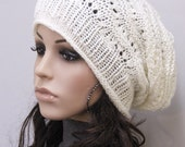 Hand Knit Chunky hat wool hat woman slouchy Ivory cream Hat
