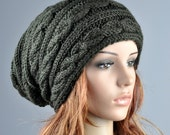 Hand knit hat Olive Chunky Wool Hat cable Pattern slouchy hat