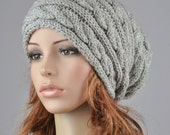 Hand knit hat - Grey hat, slouchy hat, cable pattern hat-ready to ship