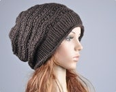 Buy 1 get 2nd for 19.99 buy 2 get 3rd for 9.99-Hand knit hat Brown Chunky Hat wool hat  Ready to ship