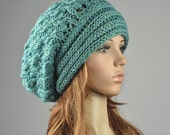 Hand knit hat - oversized Chunky Hat with Band in celery green, green hat, wool hat, slouchy hat