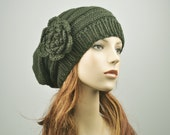 sale- Hand Knit Hat Oversized  Beret Hat with crochet flower in Olive green - ready to ship
