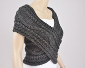 Hand knit vest, Cross Sweater, Capelet, Neck warmer in Charcoal / dark grey-ready to ship