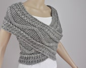 Hand knit vest, Cross Sweater, Capelet, Neck warmer in grey