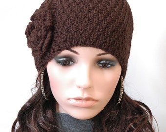Hand knit hat - Brown beanie hat with crochet flower - ready to ship