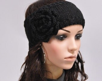 Final Sale - Black Hand knit Head Band with crochet flower