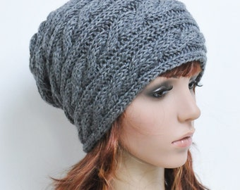 Charcoal Grey Twisted Pattern Hat - ready to ship