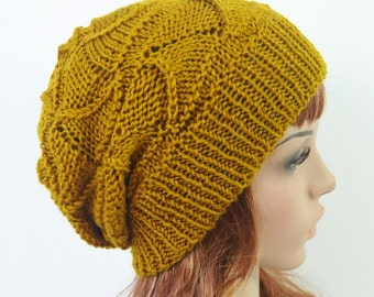 Hand knit wool Hat in Mustard Yellow - ready to ship