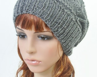 Hand knit wool Hat in Charcoal - ready to ship