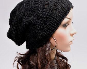 Hand knit hat woman hat winter black hat wool hat - ready to ship