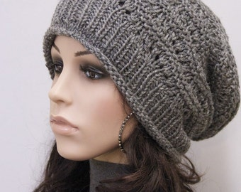 Hand Knit hat woman hat winter hat Charcoal Wool Hat dark grey hat -ready to ship