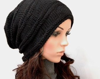 Hand Knit hat woman hat man hat Black Chunky Wool Hat Slouchy hat black hat- ready to ship