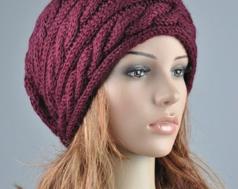 hand knit hat - Burgundy/ wine Wool cable Hat - ready to ship