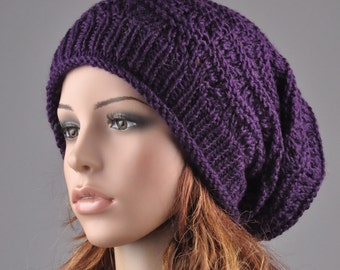 Hand knit hat Deep purple Chunky Hat weaving pattern slouchy hat wool hat - ready to ship