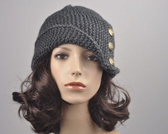 Hand knit hat woman winter hat Fold band hat Charcoal button wool hat-ready to ship