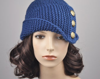 Hand knit wool hat woman beret hat Fold band hat blue hat button hat