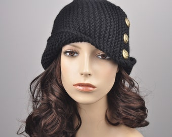 Hand knit wool hat woman beret Fold band hat in Black with button, wool hat, black hat