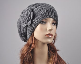 Hand Knit woman winter wool Hat - Oversized Beret Hat with crochet flower in Charcoal/ dark grey