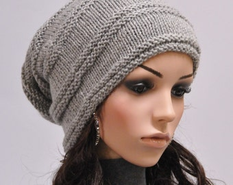 Hand knit wool hat woman winter hat  slouchy grey hat - ready to ship
