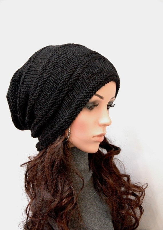Hand Knit hat woman hat man hat Black Chunky Wool Hat Slouchy hat black hat-ready to ship