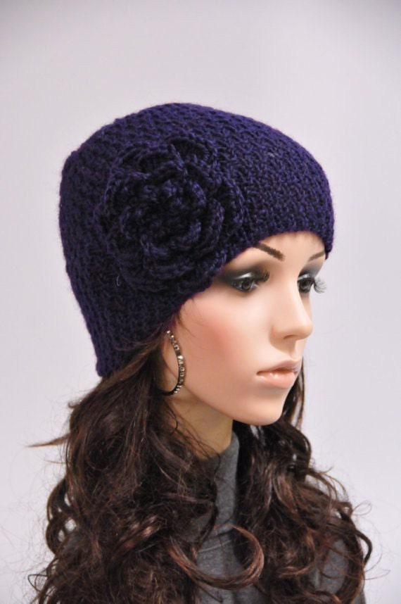 Hand knit hat woman wool hat Navy beanie with crochet flower - ready to ship