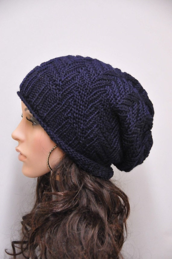 Hand Knitted Hat Patterns : Hand knit hat Chunky Hat Navy wool hat Unisex hat by MaxMelody