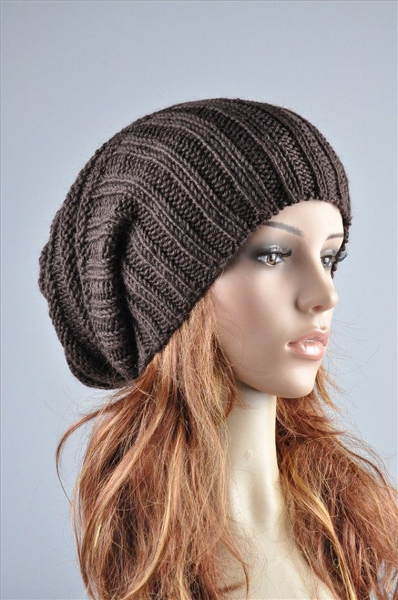 Hand knit hat Brown chunky hat wool hat rib hat - ready to ship