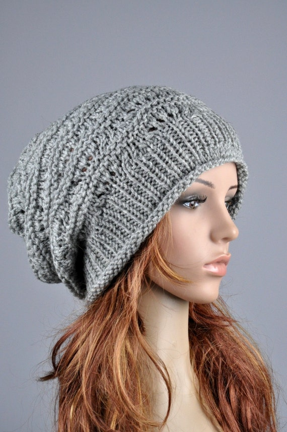 Hand knit hat woman winter hat Grey Chunky slouchy Hat-ready to ship