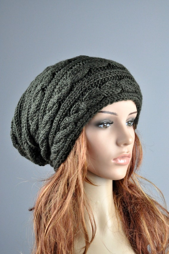 Hand knit hat Olive Chunky Wool Hat cable Pattern slouchy hat - ready to ship