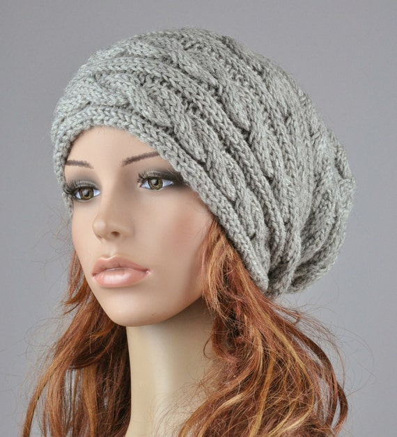 Hand knit hat - Grey hat, slouchy hat, cable pattern hat- ready to ship