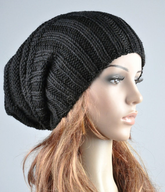 Buy 1 get 2nd for 19.99 buy 2 get 3rd for 9.99-Hand knit hat Black Chunky Wool Hat slouchy hat rib hat - ready to ship