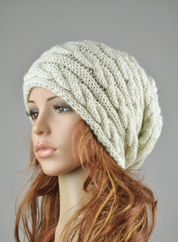 Hand knit hat - grey ivory color, cable pattern hat, wool hat, slouchy hat