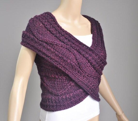 Super Slim - Cross Sweater/Capelet/Neck warmer in Mulberry .