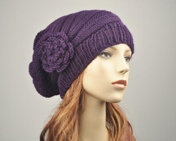 Hand Knit Hat woman hat winter hat Oversized Beret Hat crochet flower Deep purple wool hat-ready to ship