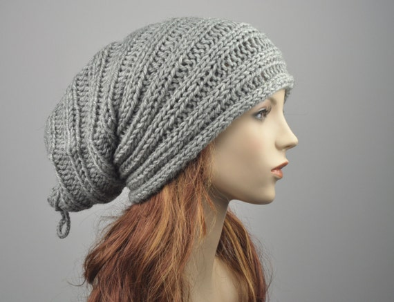 Hand knit hat neck warmer grey slouchy hat wool hat tube scarf wool cowl-ready to ship