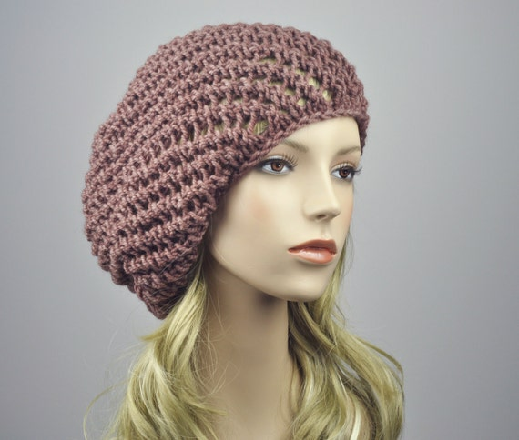 Oversized Beret Knitting Pattern : Items similar to Hand knit hat - oversized beret, Mocha hat, swirl pattern-re...