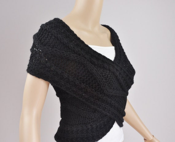 Super Slim - Cross Sweater/Capelet/Neck warmer in BLACK-ready to ship