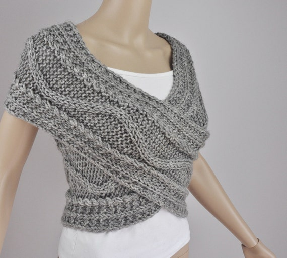 Hand knit woman sweater wool vest Cross Sweater Capelet Neck warmer scarf grey