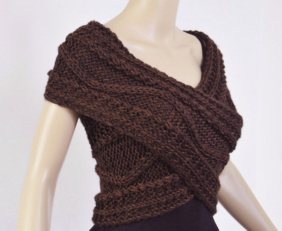 Super Slim - Cross Sweater/Capelet/Neck warmer in Chocolate, brown - ready to ship