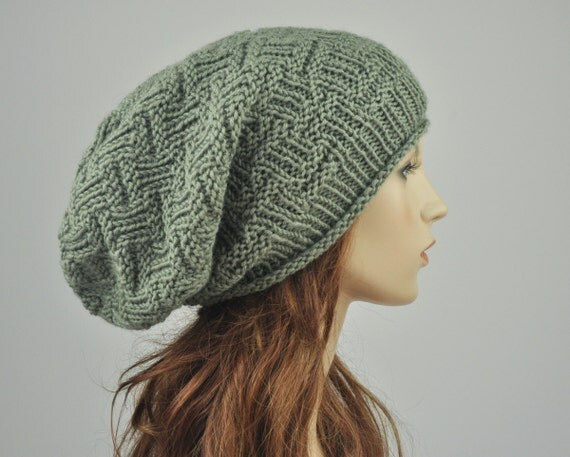 Hand knit hat - Sage Green Chunky Hat, slouchy hat