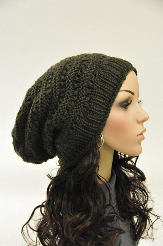 Hand knit hat Olive Green Chunky Hat unisex slouchy hat - ready to ship