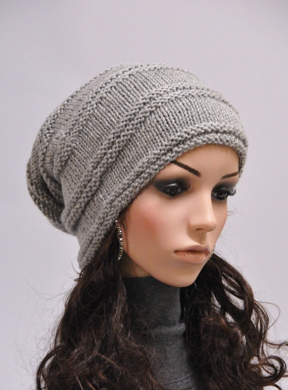 Hand knit wool hat woman winter hat  slouchy grey hat