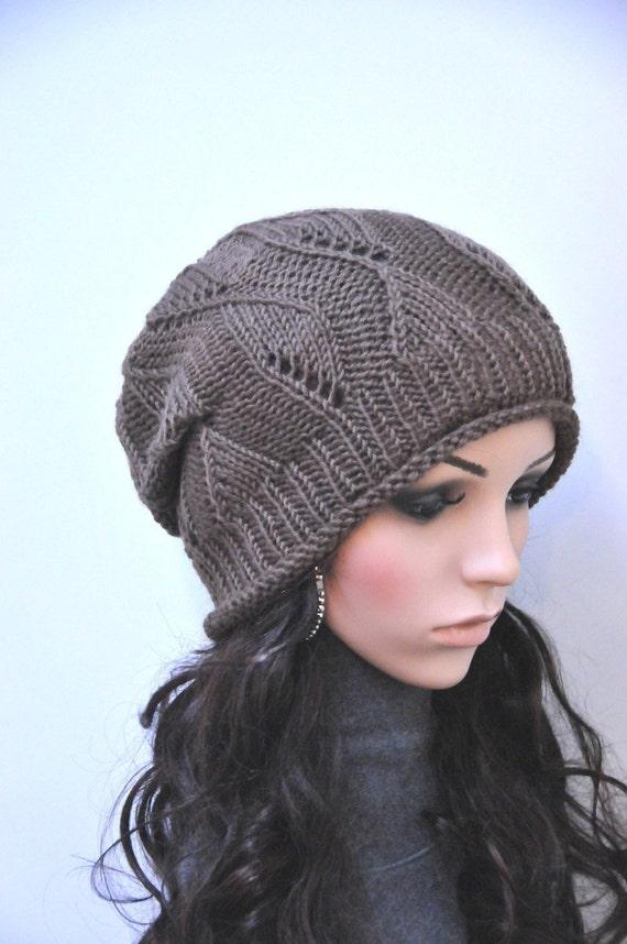 Brown Knit Hat W Fish Bone Pattern