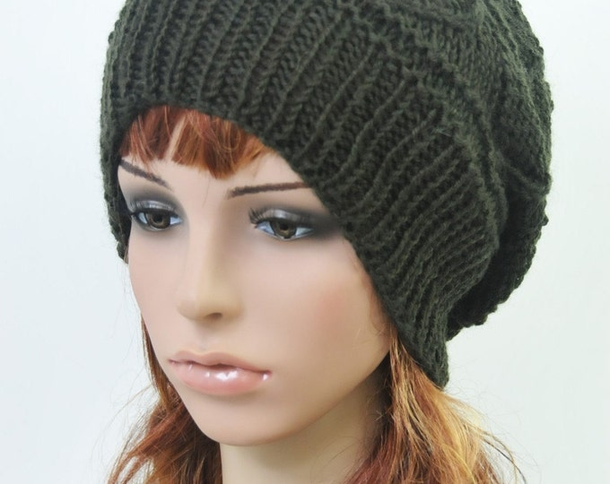 Hand knit hat woman hat wool beanie Slouchy Hat Olive Green