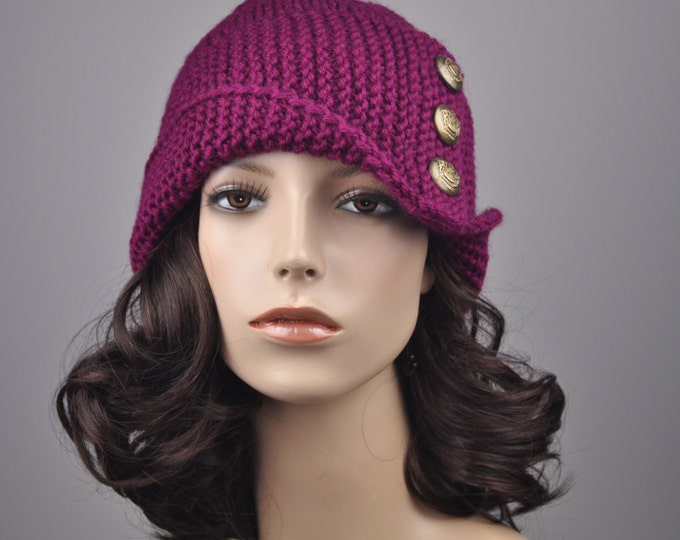 Hand knit hat - Fold band hat in cranberry with  button, wool hat