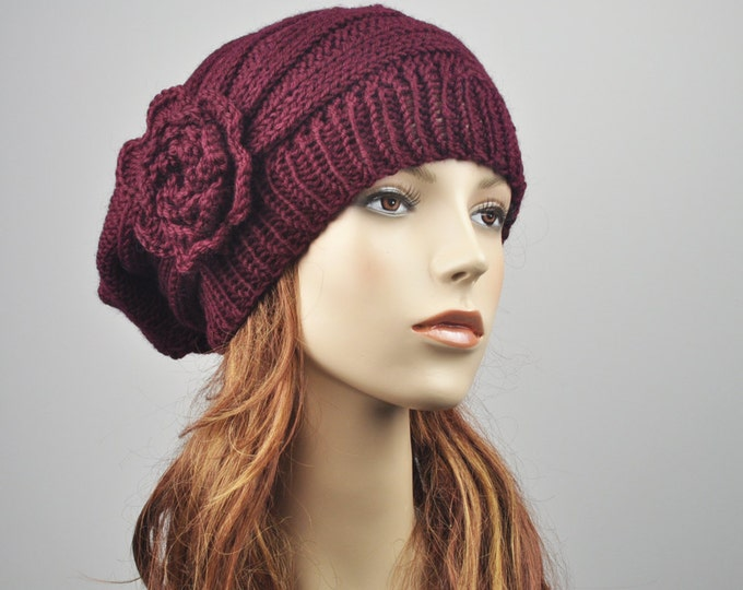 Hand Knit Hat - Oversized  Beret Hat with crochet flower in Burgundy