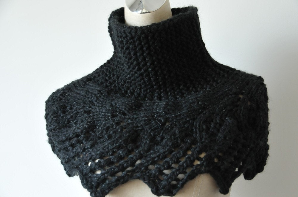 Knitting Patterns For Neck Warmers : Hand knit capelet in Black / Neck warmer leaves pattern