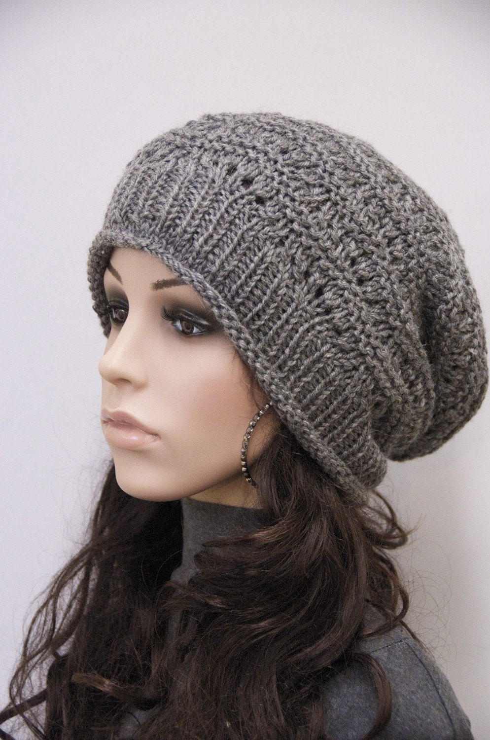Knitting Pattern For Slouchy Hat : Hand Knit hat woman hat winter hat Charcoal Wool Hat dark grey