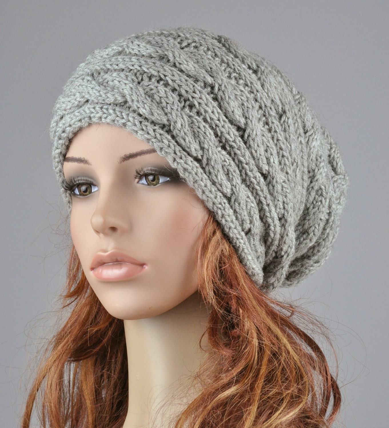 Womens Knit Hat Pattern : Hand knit hat Grey hat slouchy hat cable pattern hat
